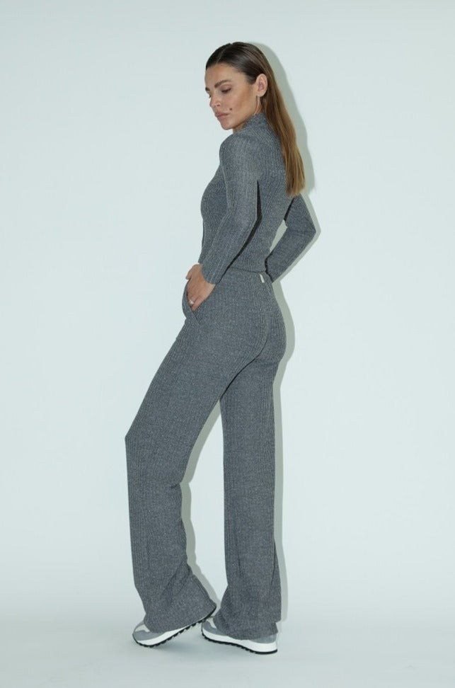 Load image into Gallery viewer, Women's Grey Portello Ribbed Wide Leg Trousers - P r é v u . S t u d i o .
