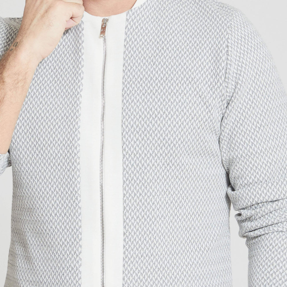 Grey Webster Geometric Knit Slim Fit Shirt - Prévu Studio