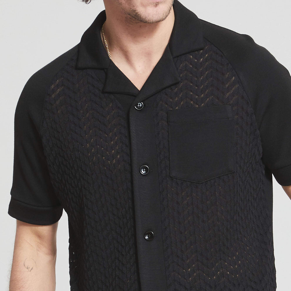 Black Bryant Chevron Knit Regular Fit Jersey Shirt - Prévu Studio