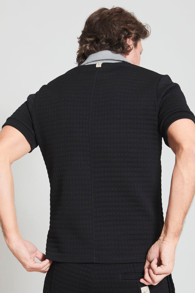 Load image into Gallery viewer, Black Newark Waffle Slim Fit Polo - Prévu Studio