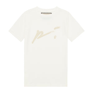 Load image into Gallery viewer, Kids White and Beige Signature Logo Print T-shirt - P r é v u . S t u d i o .