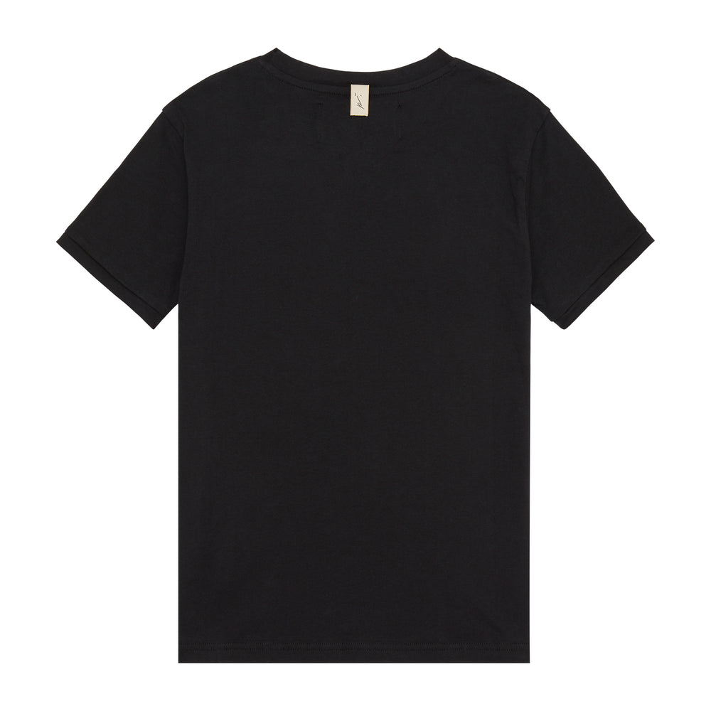 Kids Black and Beige Signature Logo Print T-shirt - P r é v u . S t u d i o .