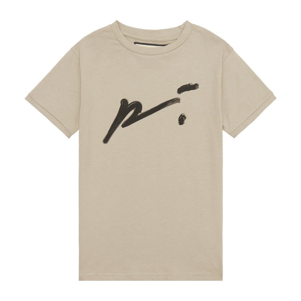 Kids Stone and Black Signature Logo Print T-shirt - P r é v u . S t u d i o .