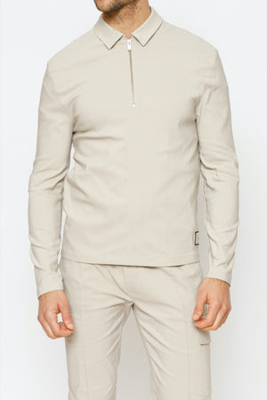 Load image into Gallery viewer, Stone Salvatore Long Sleeve Slim Fit Polo - P r é v u . S t u d i o .
