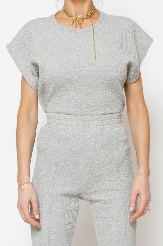 Load image into Gallery viewer, Women's Grey Sandon Textured Box T-shirt - P r é v u . S t u d i o .