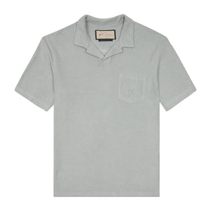 Load image into Gallery viewer, Light Blue Astor Towelling Short Sleeve Slim Fit Polo - P r é v u . S t u d i o .