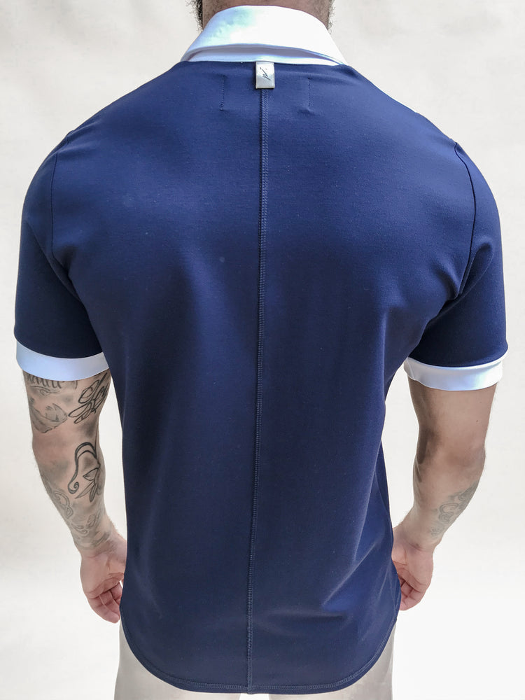 Blue Aruba Panelled Slim Fit Polo - P r é v u . S t u d i o .