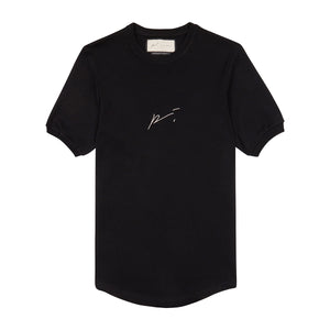 Black Signature Logo Embroidered Slim Fit T-Shirt - P r é v u . S t u d i o .