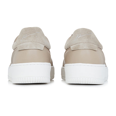 Beige Leather and Suede Signature Trainers - P r é v u . S t u d i o .