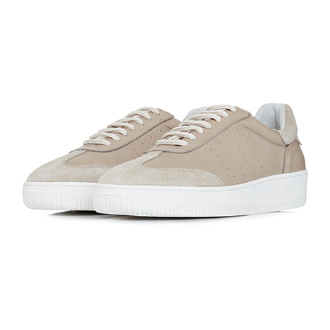 Beige Leather and Suede Signature Trainers