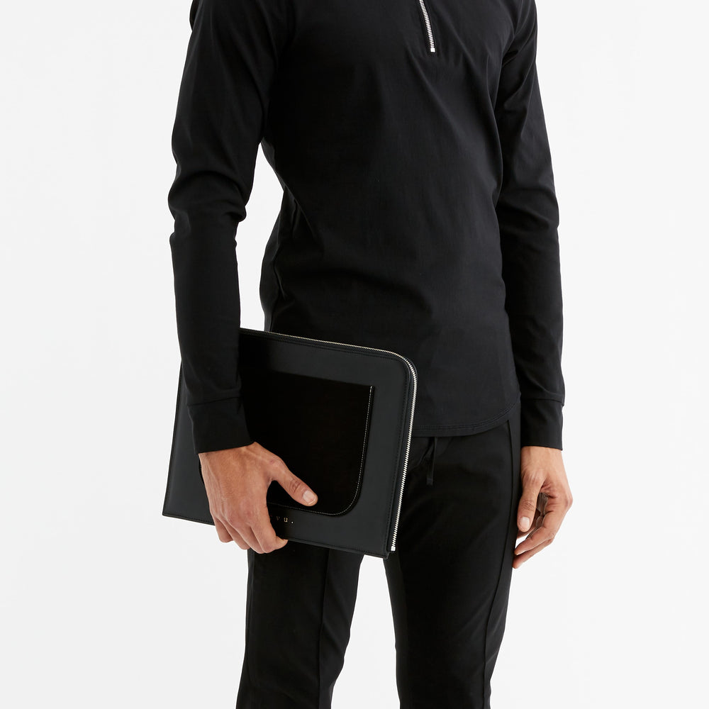Black Langham Leather Document Bag - P r é v u . S t u d i o .