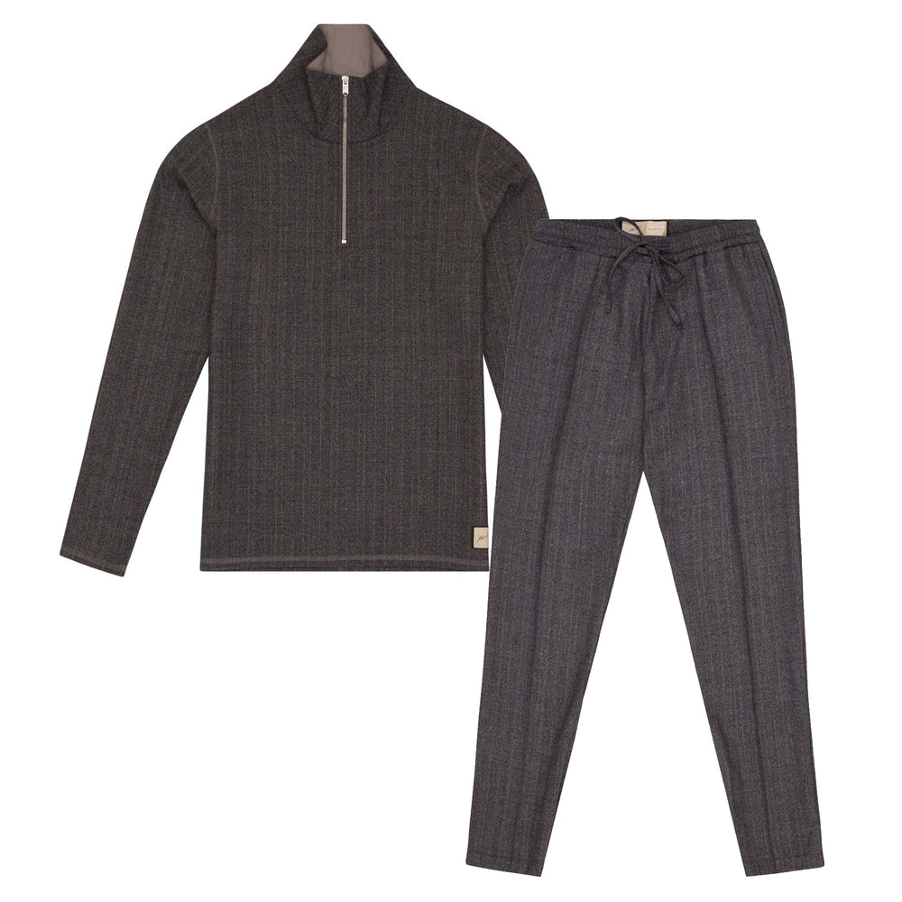 Coloured Pin Striped 1/4 Zip Twinset Charcoal