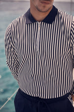 Navy Charter Stripe Slim Fit Polo Shirt - P r é v u . S t u d i o .