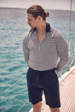 Navy Charter Stripe Slim Fit Polo Shirt