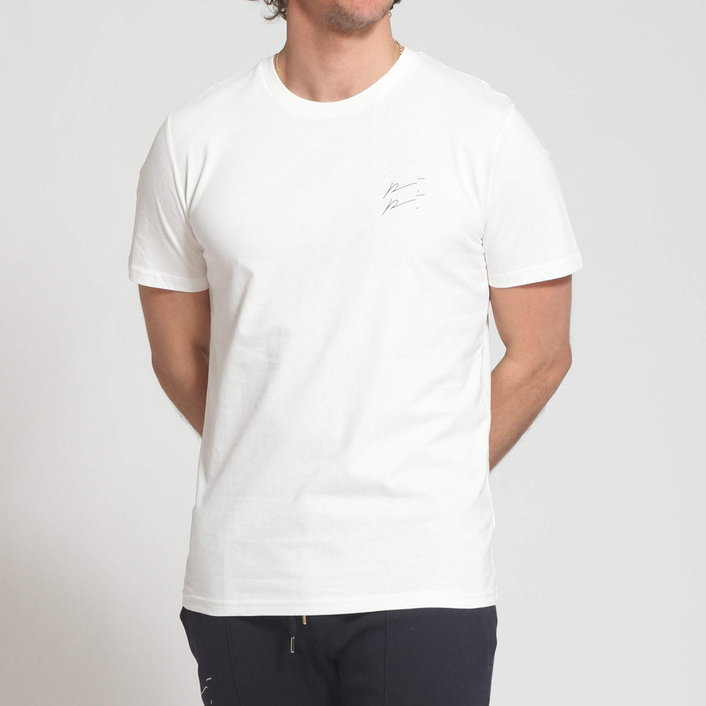 Load image into Gallery viewer, Ecru Double Logo Slim Fit T-shirt - Prévu Studio