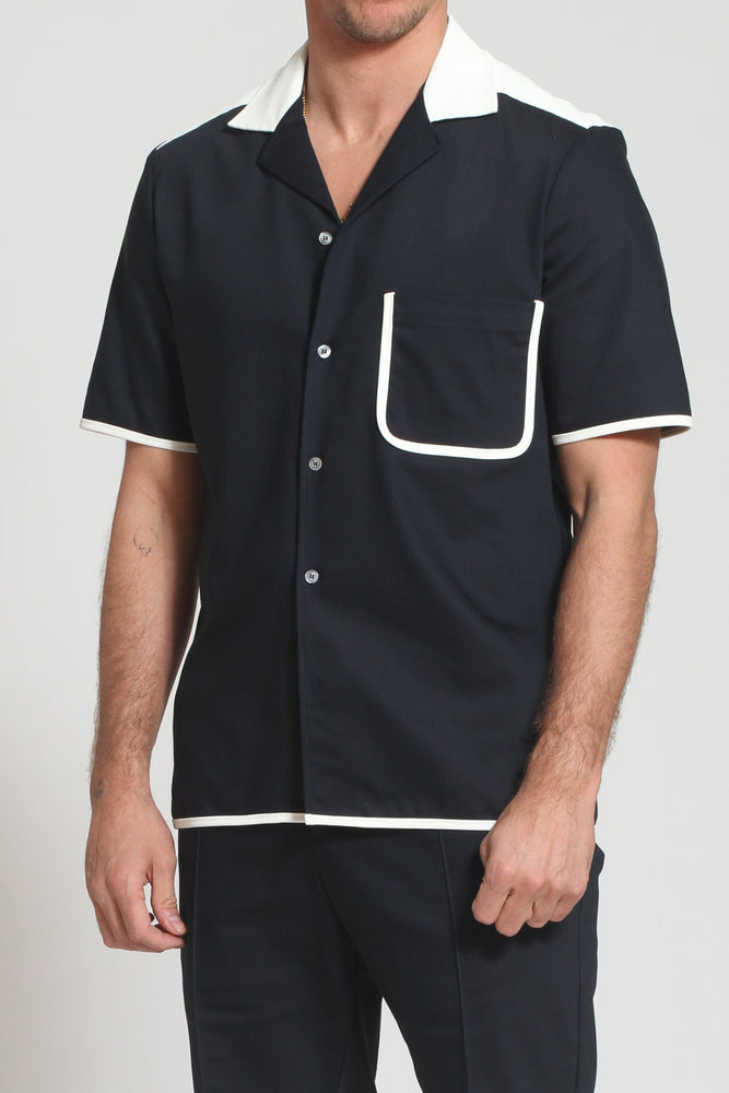 Navy Lincoln Revere Collar Regular Fit Shirt - Prévu Studio