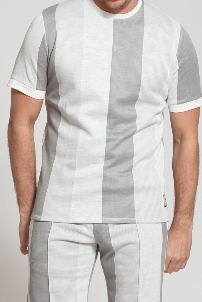 Light Grey Monaco Stripe Slim Fit T-shirt - Prévu Studio
