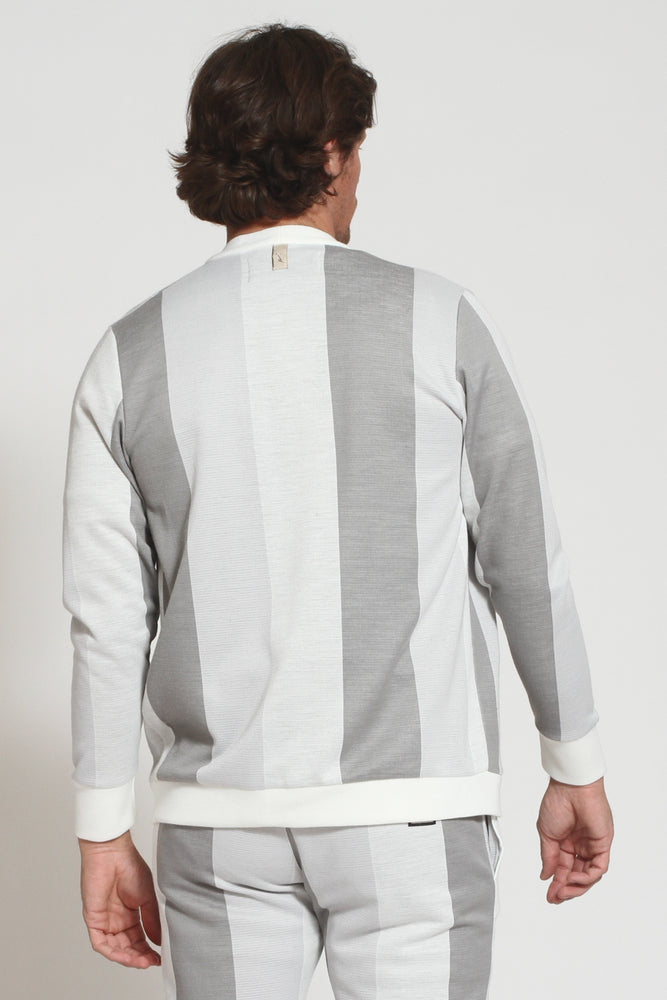 Light Grey Monaco Stripe Cardigan - Prévu Studio