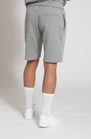 Load image into Gallery viewer, Grey Marl Double Logo Shorts - Prévu Studio