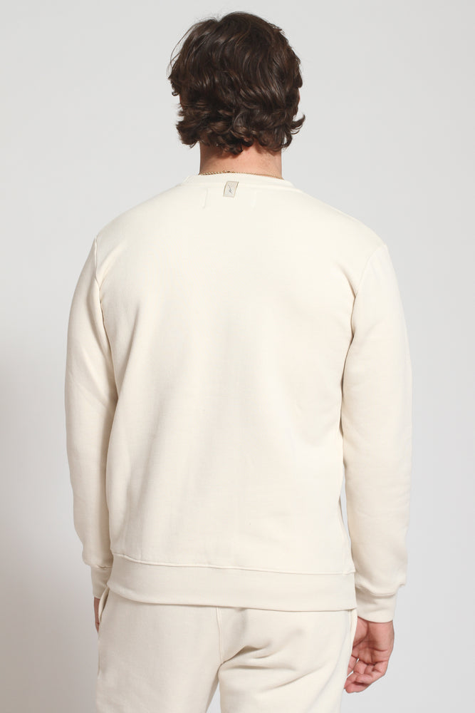 Ecru Double Logo Slim Fit Sweatshirt - Prévu Studio
