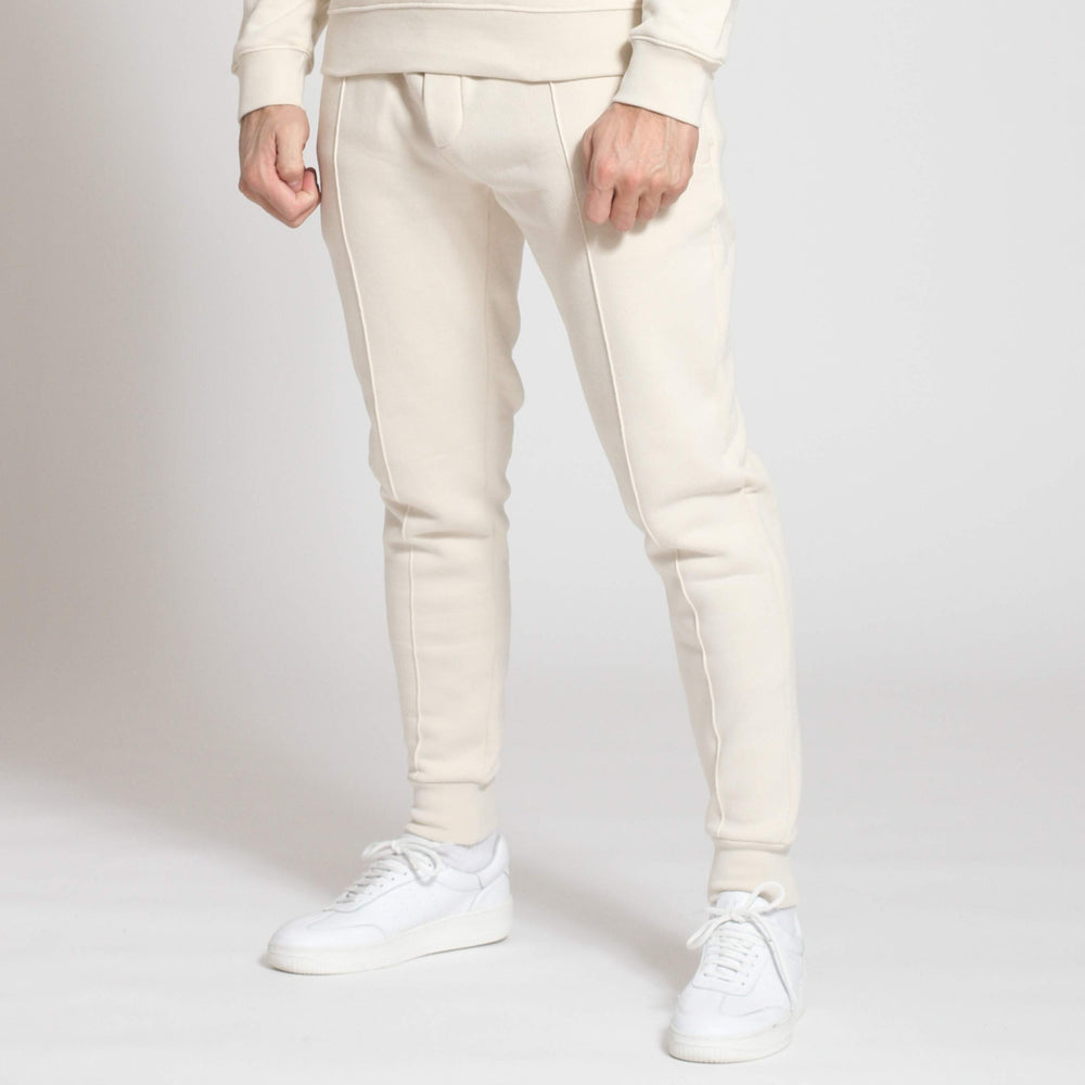 Ecru Double Logo Slim Fit Joggers - Prévu Studio