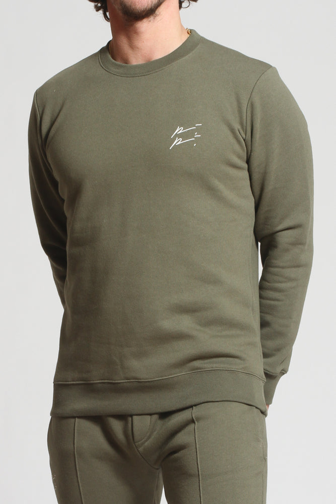 Khaki Double Logo Slim Fit Sweatshirt - Prévu Studio