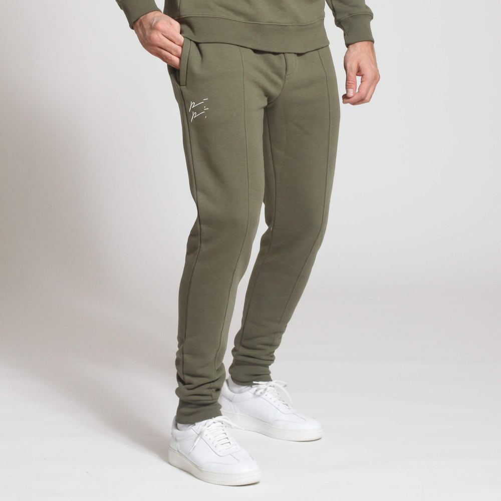 Khaki Double Logo Slim Fit Joggers - Prévu Studio