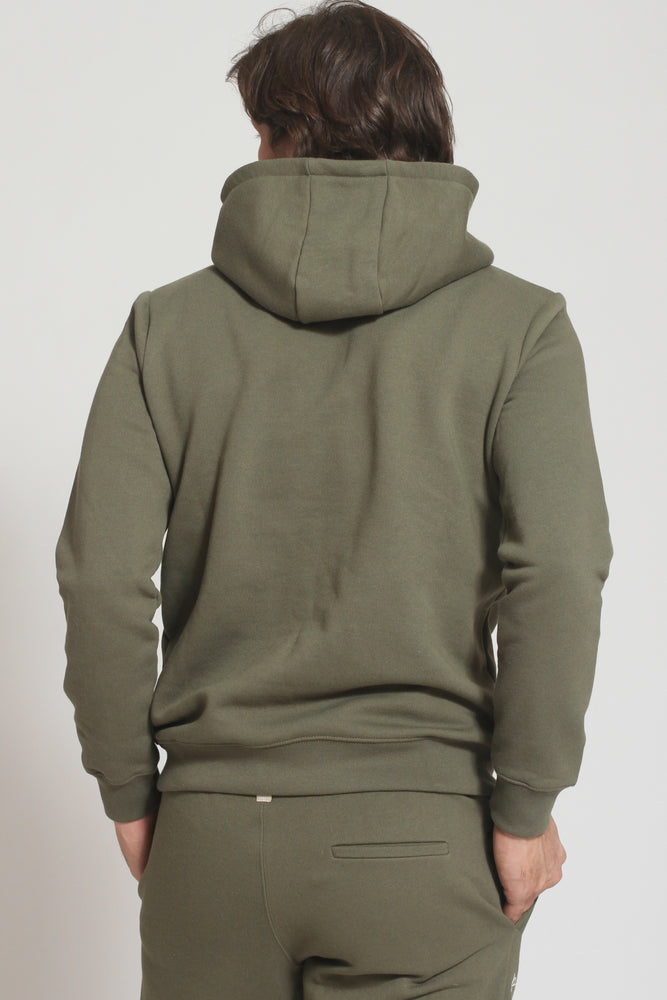 Khaki Double Logo Slim Fit Hoodie - Prévu Studio