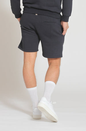 Load image into Gallery viewer, Navy Double Logo Shorts - Prévu Studio