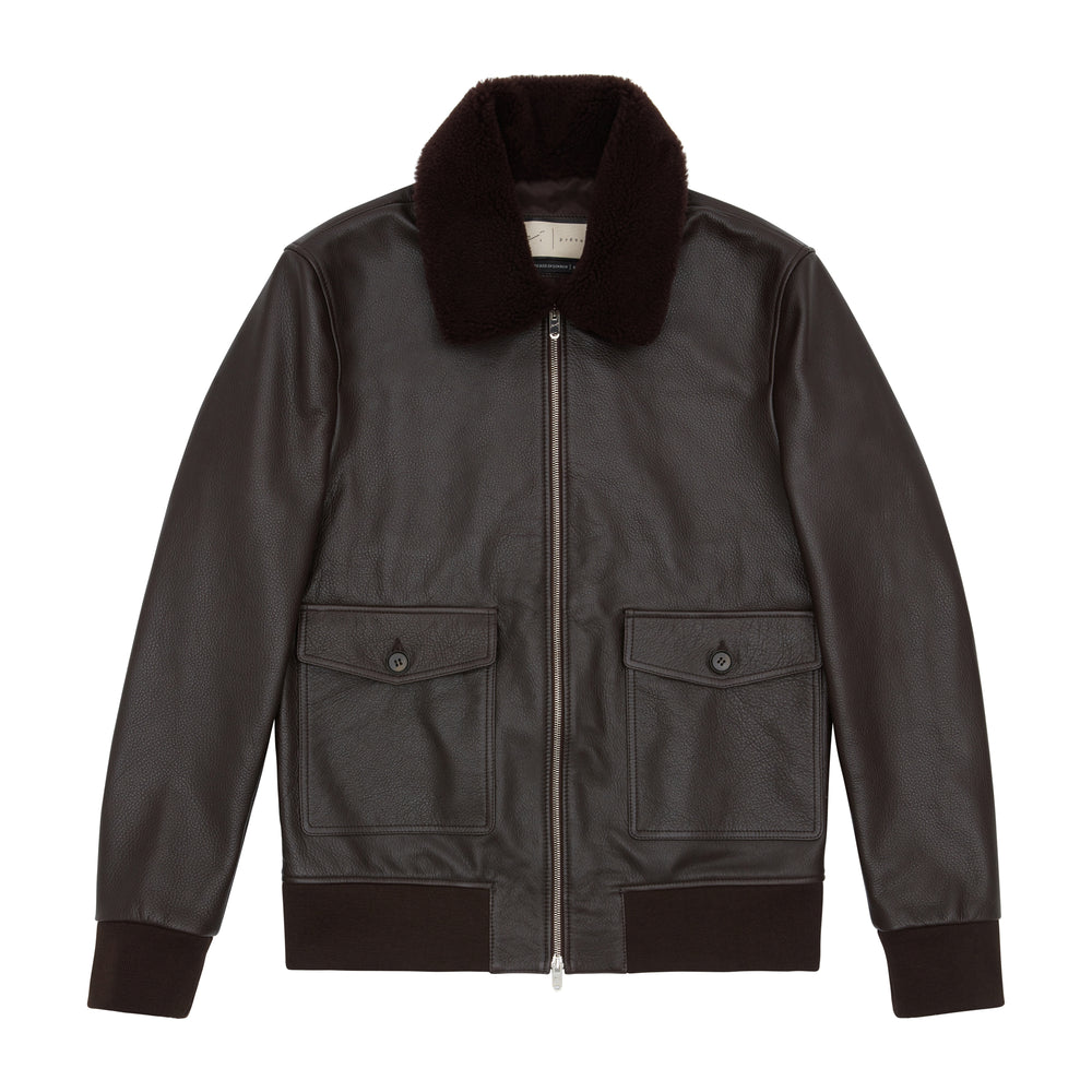 Ellwood Rd Leather Patch Pocket Bomber Brown - P r é v u . S t u d i o .