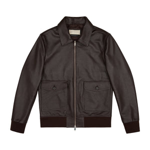 Ellwood Rd Leather Patch Pocket Bomber Brown