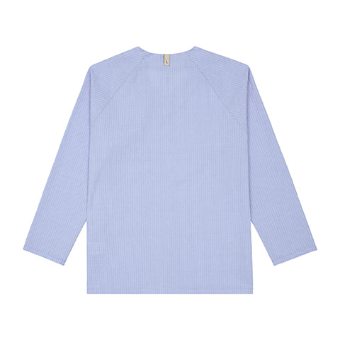 Light Blue Ripple V-neck Pull Over Slim Fit Shirt - P r é v u . S t u d i o .