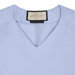 Load image into Gallery viewer, Light Blue Ripple V-neck Pull Over Slim Fit Shirt - P r é v u . S t u d i o .