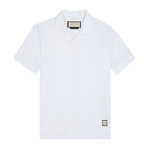White Ripple Revere Collar Slim Fit Polo - P r é v u . S t u d i o .