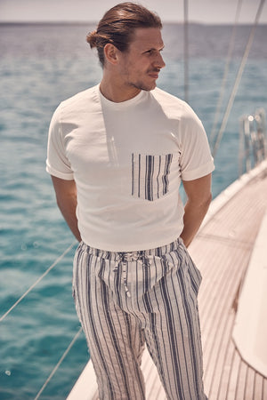 Cream Formentera Contrast Pocket Slim Fit T-shirt - P r é v u . S t u d i o .