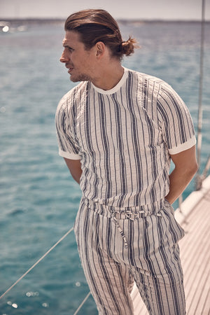 Ecru Formentera Stripe Slim Fit T-shirt