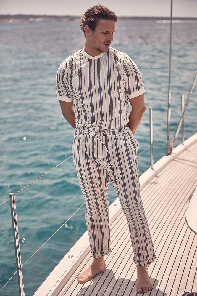 Ecru Fortmentera Stripe Loose Fit Trousers
