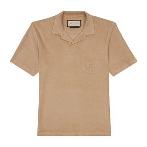 Tan Astor Towelling Short Sleeve Slim Fit Polo