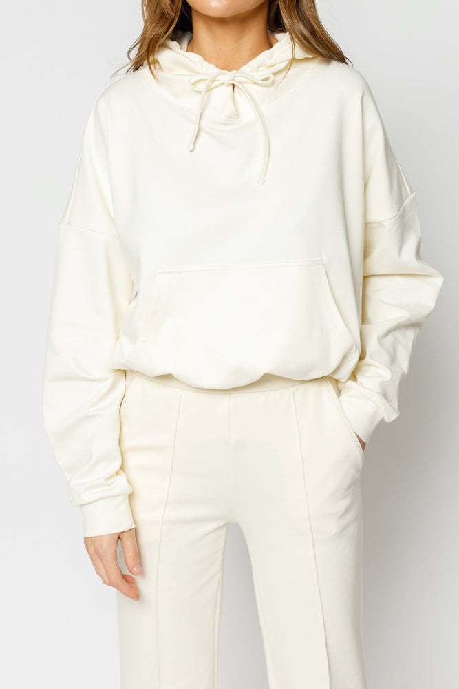 Women's White Ripley Regular Fit Hoodie - P r é v u . S t u d i o .