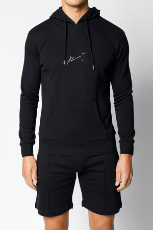 Load image into Gallery viewer, Black Signature Logo Embroidered Hoodie - P r é v u . S t u d i o .