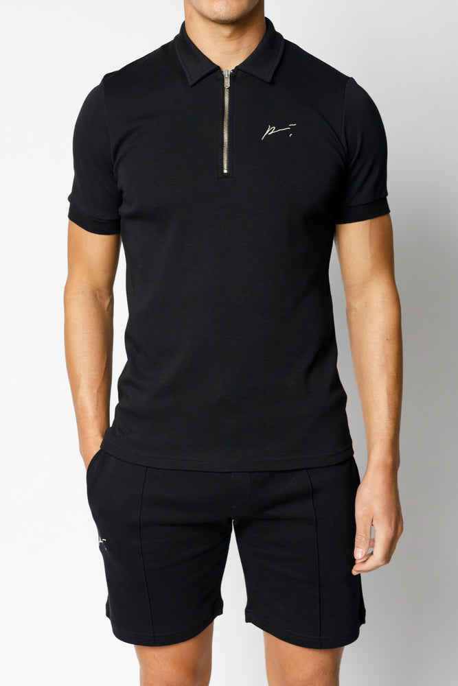 Black Signature Logo Zip Neck Slim Fit Polo - P r é v u . S t u d i o .