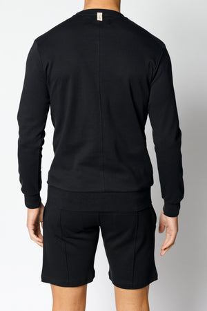 Load image into Gallery viewer, Black Signature Logo Embroidered Sweatshirt - P r é v u . S t u d i o .
