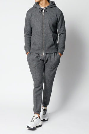 Load image into Gallery viewer, Grey Cervati Italian Wool Regular Fit Joggers - P r é v u . S t u d i o .