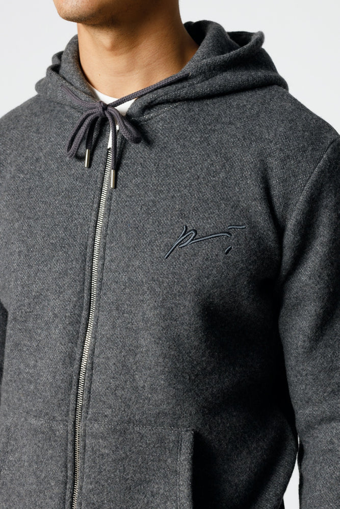 Load image into Gallery viewer, Grey Cervati Italian Wool Zip Through Hoodie - P r é v u . S t u d i o .