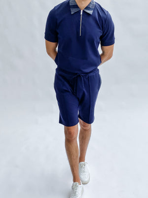 Load image into Gallery viewer, Navy Bavaro Shorts - P r é v u . S t u d i o .