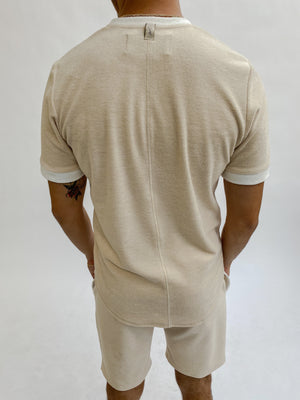 Load image into Gallery viewer, Beige Delos Towelling Slim Fit T-shirt - P r é v u . S t u d i o .