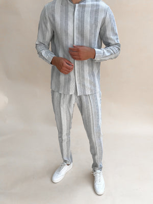 Load image into Gallery viewer, Grey Bavaro Strip Linen Slim Fit Trousers - P r é v u . S t u d i o .