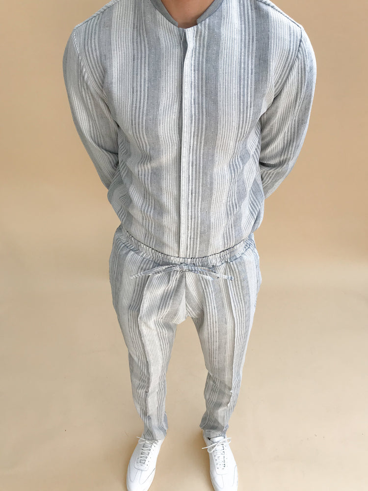 Grey Bavaro Strip Linen Slim Fit Trousers - P r é v u . S t u d i o .