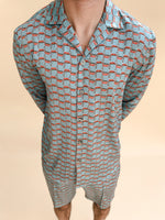 Light Blue Villena Geo Print Slim Fit Shirt - P r é v u . S t u d i o .