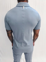 Blue Signature Logo Zip Neck Slim Fit Polo - P r é v u . S t u d i o .